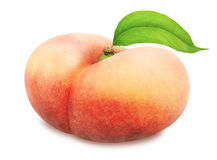 Flat peach with leaf. Full depth of field. Stock Photography