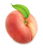 Flat peach with leaf. Full depth of field. Royalty Free Stock Photo