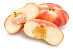 Flat peach. Sliced flat peach path Royalty Free Stock Images