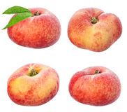 Flat peaches isolated on the white Stock Photo