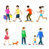 Flat pedestrians casual youth people: skate shopper runner Royalty Free Stock Photography