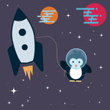 Flat penguin character stylized as an astronaut in the space. Stock Photography