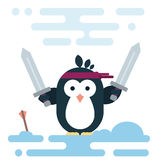 Flat penguin character stylized as a barbarian with two swords. Vector penguin character stylized as a barbarian with two swords. Modern flat illustration Royalty Free Stock Photo