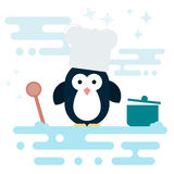 Flat penguin character stylized as chef with wooden spoon and with pot. Stock Image