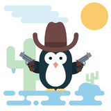 Flat penguin character stylized as a cowboy with revolvers and hat. Royalty Free Stock Photos