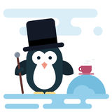 Flat penguin character stylized as a gentleman with walking stick and cup of tea. Royalty Free Stock Images
