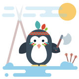 Flat penguin character stylized as a native American with tomahawk. Royalty Free Stock Image