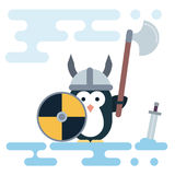 Flat penguin character stylized as a viking warrior with helm, shield and sword. Royalty Free Stock Photo