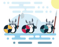 Flat penguin characters stylized as a vikings warriors with weapons. Royalty Free Stock Photography