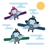 Flat penguins characters stylized as a pilots in the airplanes. Vector penguins characters stylized as a pilots in the airplanes.. Modern flat illustration Stock Images