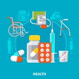 Flat Pensioner Composition. Colored and flat pensioner composition with pills equipment and different medical tools vector illustration Royalty Free Stock Photos