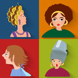 Flat people avatar beauty spa customers Royalty Free Stock Photos