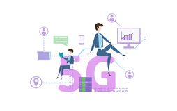 Flat people on big 5G symbol. Concept with people, letters and icons. Colored flat vector illustration on white. Flat people on big 5G symbol. Concept table with stock illustration