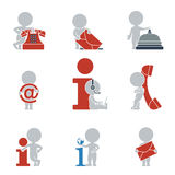 Flat people - contacts and Information. Collection of flat icons with people on contacts and information. Vector illustration Stock Images