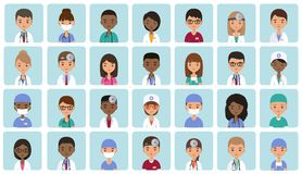 Avatars medical characters in flat design. Vector illustration. Stock Photos