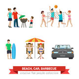 Flat people family on beach backyard: surfer, volleyball, couple Stock Photo