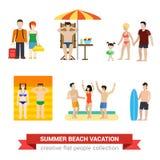 Flat people family on beach sea vacaton sunbathing surfer couple Stock Image
