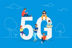 Flat people with gadgets sitting on the big 5G symbol. Addicted to networks people concept illustration of young men and women using high speed wireless royalty free illustration