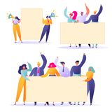 Flat People Holding In Hands Empty Banners. Happy Flat People Characters With Advertising, Blank, Billboards, Presentation, Announ Royalty Free Stock Images