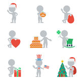 Flat people - holidays. Collection of icons of people flat on holiday. Vector illustration Stock Photo
