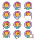 Flat people icons with business characters. Stock Photos