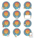 Flat people icons with business characters. Royalty Free Stock Image