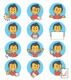 Flat people icons with business characters. Stock Images