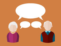 Flat people icons elderly man and elderly woman with different speech bubbles. Vector  illustration Royalty Free Stock Photo