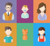 Flat people icons mother, father and their sons and daughter. Family. Segment of population Stock Photos