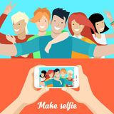 Flat people making selfie phone photo vector Socia. Flat Young people making selfie, male hands holding smartphone with opened photo vector illustration set Stock Images