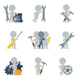 Flat people - mechanics. Collection of icons of people flat on mechanics. Vector illustration stock illustration