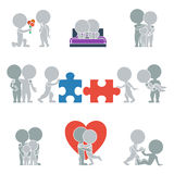 Flat people - relationships. Collection of flat icons with people on the topic of relationships. Vector illustration Stock Photography