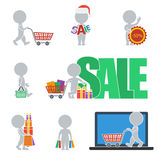 Flat people - sale. Collection of icons of people flat on sale. Vector illustration Royalty Free Stock Photo