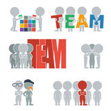 Flat people - team. Collection of flat icons with people on the team. Vector illustration Stock Photo