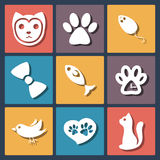 Flat pet cat icons set, vector Stock Image