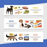 Flat Pet Shop Horizontal Banners Stock Images