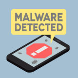 Flat phone iso Malware. Minimalistic illustration of a monitor with a virus alert speech bubble Stock Photos