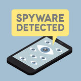 Flat phone iso Spyware. Minimalistic illustration of a monitor with a virus alert speech bubble Royalty Free Stock Photos