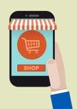 FLAT_phone_shopping_02 Stock Images