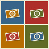 Flat photo cameras. Abstract background Stock Photos
