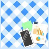 Flat photo Layout of Switched Off Smartphone Device, Sticky Notes and Clipboard with Colored Pie Chart and Declining Bar. Layout Smartphone Off Sticky Notes royalty free illustration