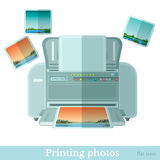 Flat photo printer with photoe icon isolated Stock Photo