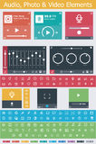 Flat photo, video and audio app UI elements Royalty Free Stock Images