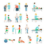 Flat physiotherapy  illustration set  Royalty Free Stock Photography