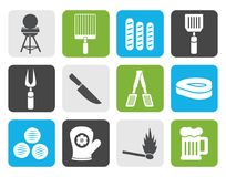 Flat picnic, barbecue and grill icons royalty free illustration