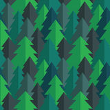 Flat Pine Forest Seamless Vector Pattern Stock Photography