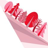 Flat pink illustration with the wood and a field vector illustration