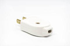 2 flat pins plug. Isolated two flat pins plugs Royalty Free Stock Images