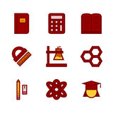 Flat and pixel icon set for education Royalty Free Stock Photography