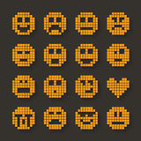 Flat pixel smile icons set with shadow effect. Royalty Free Stock Photography